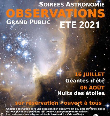 """Soirées Astronomie """"Nuit des étoiles"""""""