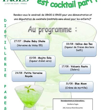 """Cocktail Party"" les vendredis à la Distillerie Pagès"